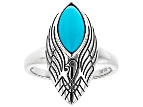 Marquise Sleeping Beauty Turquoise Eagle Design Rhodium Over Silver Ring