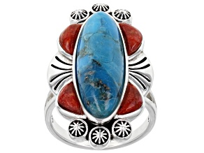 Turquoise and Red Sponge Coral Rhodium Over Silver Ring
