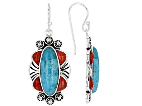 Turquoise and Red Sponge Coral Rhodium Over Silver Earrings