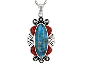 Turquoise and Red Sponge Coral Rhodium Over Silver Pendant with Chain