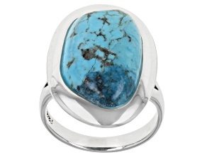 Blue Freeform Turquoise Rhodium Over Silver Solitaire Ring