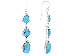 Blue Custom Shape Turquoise Rhodium over Sterling Silver Drop Earrings