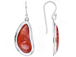 Red Sponge Coral Rhodium over Sterling Silver Custom Shape Earrings