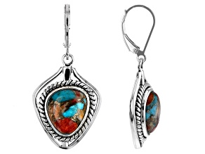 Blended Turquoise and Spiny Oyster Shell Rhodium Over Silver Cuff Earrings