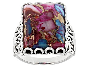 Blended Turquoise and Purple Spiny Oyster Shell Rhodium Over Sterling Silver Ring