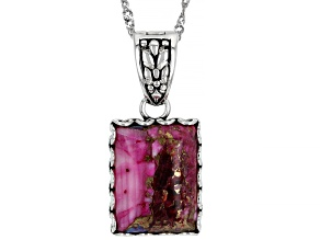Blended Turquoise and Purple Spiny Oyster Shell Rhodium Over Silver Enhancer with Chain