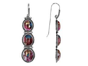 Blended Turquoise and Purple Spiny Oyster Shell Rhodium Over Silver 3-Stone Earrings