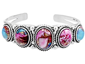 Blended Turquoise and Purple Spiny Oyster Shell Rhodium Over Sterling Silver 5-Stone Bracelet