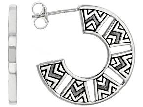 Solid Rhodium Over Sterling Silver Southwestern Hoop Earrings