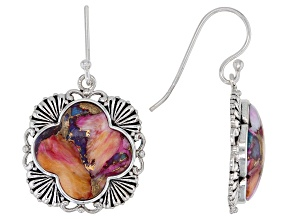 Blended Turquoise and Purple Spiny Oyster Shell Rhodium Over Sterling Silver Earrings