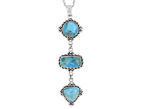 Blue Turquoise Rhodium Over Sterling Silver 3-stone Dangle Pendant with Chain