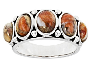 Spiny Oyster Shell  Rhodium Over Sterling Silver 5-Stone Ring