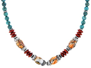 Turquoise, Coral, and Spiny Oyster Shell Rhodium Over Silver Beaded Necklace
