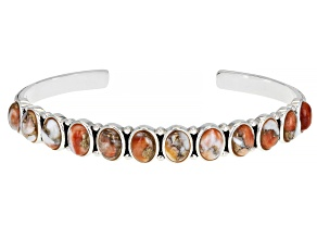 Orange Spiny Oyster Shell Rhodium Over Sterling Silver Cuff Bracelet