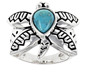 Blue Turquoise Rhodium Over Sterling Silver Dragonfly Ring