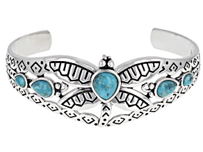 Blue Turquoise Rhodium Over Sterling Silver Dragonfly Cuff