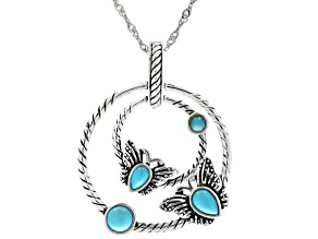 Sleeping Beauty Turquoise Rhodium Over Silver Butterfly Enhancer with Chain
