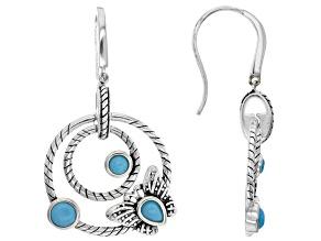 Sleeping Beauty Turquoise Rhodium Over Silver Butterfly Dangle Earrings
