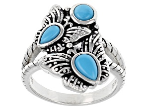 Sleeping Beauty Turquoise Rhodium Over Silver Butterfly Ring