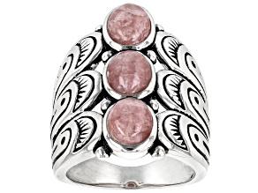 Pink Rhodochrosite Rhodium over Sterling Silver 3-Stone Ring