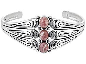 Oval Pink Rhodochrosite Rhodium over Sterling Silver 3-Stone Bracelet