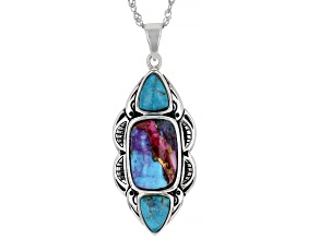 Blended Turquoise and Purple  Shell Rhodium Over Silver Pendant with Chain