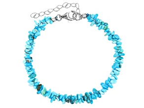 Sleeping Beauty Turquoise Rhodium Over Silver Chip Station Bracelet