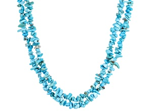 Sleeping Beauty Turquoise Double Strand Beaded Chip Necklace