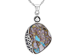 Blended Turquoise and Pink Opal Rhodium Over Silver Pendant with Chain