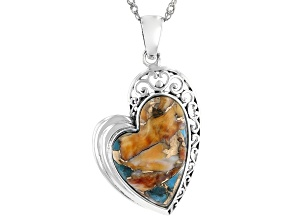 Blended Turquoise and Spiny Oyster Shell Rhodium Over Silver Heart Pendant with Chain