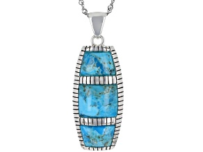 Blue Turquoise Rhodium Over Sterling Silver Inlay Pendant with Chain