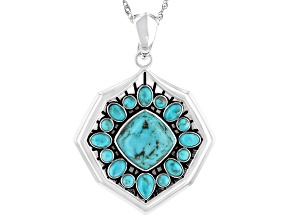 Blue Mixed Shape Turquoise Rhodium Over Sterling Silver Enhancer with Chain
