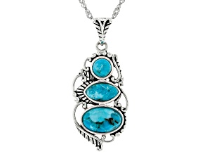 Blue Turquoise Rhodium Over Sterling Silver 3-Stone Pendant with Chain