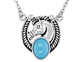 Sleeping Beauty Turquoise Rhodium over Sterling Silver Horse Necklace