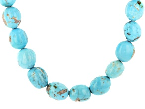 Sleeping Beauty Turquoise Rhodium Over Silver Nugget Strand Necklace