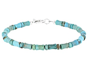 Blue Turquoise Rondelle and Bamboo Rhodium Over Silver Bracelet