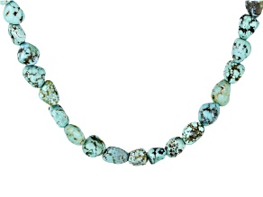 Blue Turquoise Rhodium Over Silver Nugget Necklace