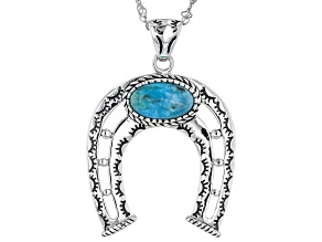 Turquoise Rhodium Over Sterling Silver Horseshoe Pendant with Chain