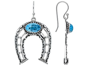 Turquoise Rhodium Over Sterling Silver Horseshoe Dangle Earrings