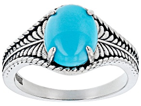 Sleeping Beauty Turquoise Rhodium Over Silver Oxidized Ring