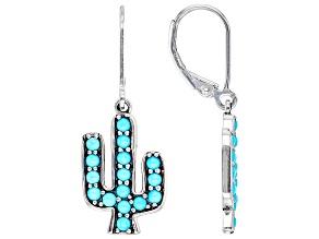 Sleeping Beauty Turquoise Rhodium Over Silver Cactus Dangle Earrings