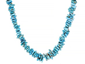 Blue Sleeping Beauty Turquoise Rhodium Over Silver Chip Necklace