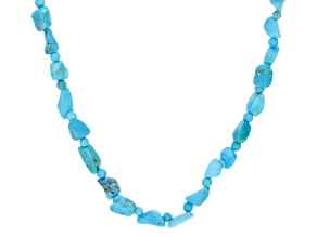Blue Turquoise Rhodium Over Silver Chip Necklace