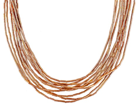 18k Rose Gold Over Silver Liquid Style 10 Strand Necklace
