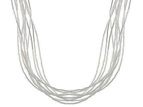 5576d01a4a00e Liquid Silver 10 Strand Necklace