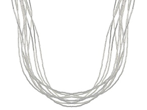 Liquid Silver 10 Strand Necklace 20 Inch