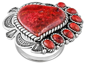 Red Coral Sterling Silver Heart Ring
