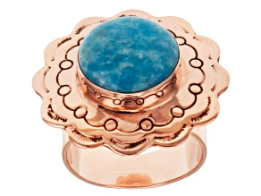 Blue Morenci Turquoise 18k Rose Gold Over Sterling Silver Ring