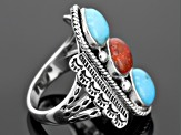 Blue Turquoise Sterling Silver 3-Stone Ring