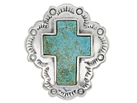 Green Nevada Turquoise Sterling Silver Cross Ring
